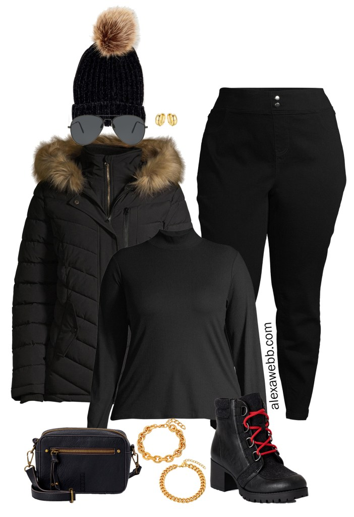 Plus Size Jeggings Outfit Ideas with Walmart - Faux Fur Hooded Jacket and Hiker Booties - Alexa Webb #plussize #alexawebb