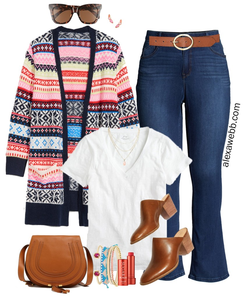 Plus Size Fair Isle Cardigan Outfit for Fall and Winter with Bootcut Jeans and Madewell Mules - Alexa Webb #plussize #alexawebb
