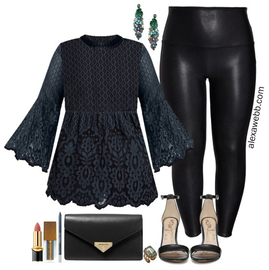 More Plus Size Faux Leather Leggings Outfits with lace bell sleeve tunic, ombre gem earrings, black clutch and stiletto sandals - Alexa Webb