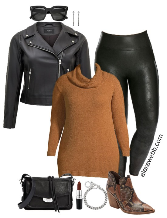Plus Size Faux Leather Leggings Outfit Ideas with Tunic Sweater, Biker Jacket, Ankle Booties, and Crossbody Bag - Alexa Webb