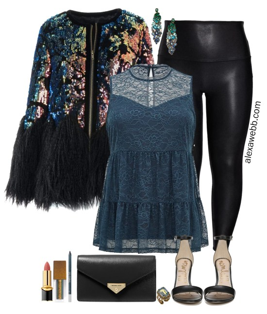 More Plus Size Faux Leather Leggings Outfits for a Night Out or Holilday Party with Sequin Jacket, Lace bell sleeve tunic, Ombre gem earrings, Black clutch and Stiletto sandals - Alexa Webb