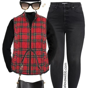 Plus Size Red Plaid Vest Outfit with Black Turtleneck Sweater, Black Jeans, and Hiker Booties - Alexa Webb #plussize #alexawebb