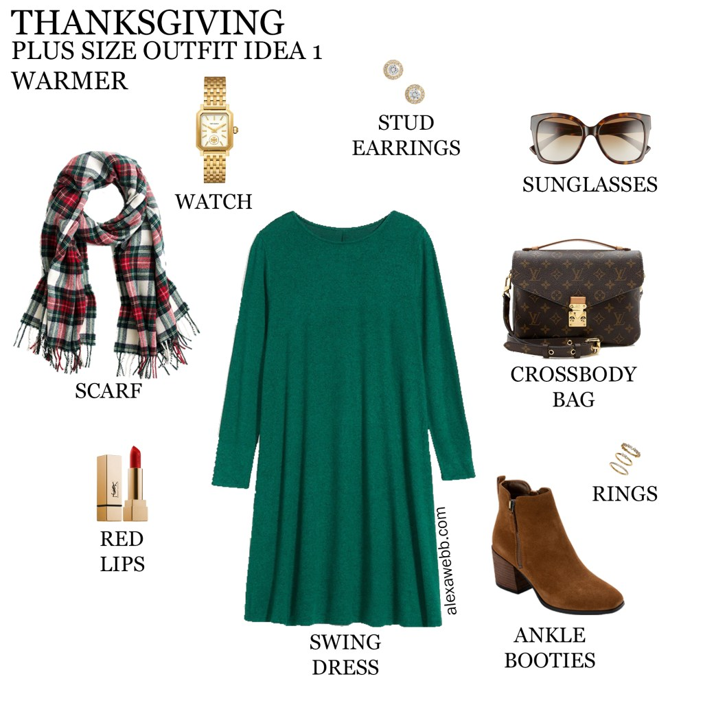 2020 Plus Size Thanksgiving Outfits – Outfit 1 Warmer with Green Swing Dress, Plaid Scarf, and Ankle Booties - Alexa Webb #plussize #alexawebb