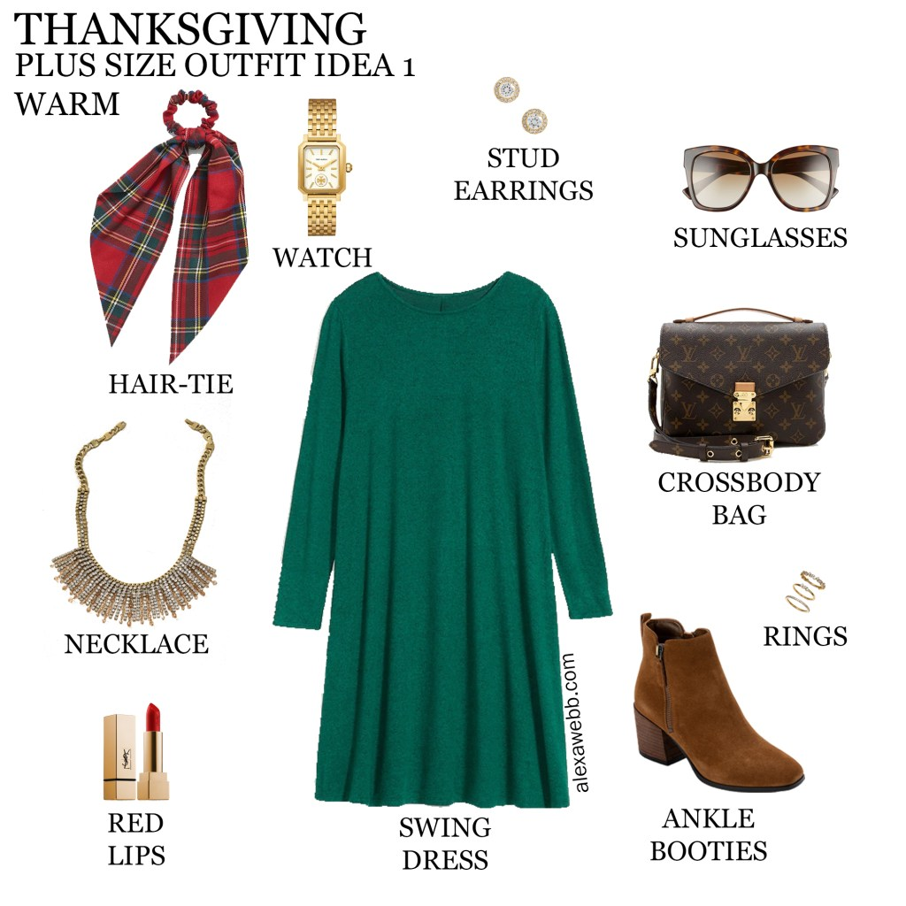 2020 Plus Size Thanksgiving Outfits – Outfit 1 Warm with Green Swing Dress, Plaid Hair-Tie Scarf, Statement Necklace and Ankle Booties - Alexa Webb #plussize #alexawebb