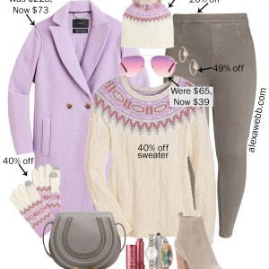 Plus Size Lavender Fair Isle Sweater Outfit with Taupe Grey Spanx Jeggings, Lavender JCrew Coat, and Crossbody Bag - Alexa Webb #plussize #alexawebb