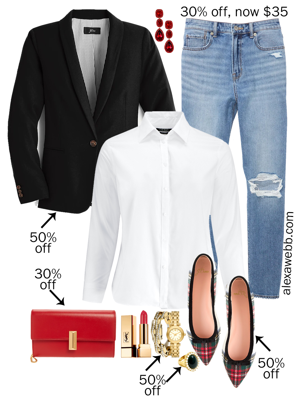 Plus Size Preppy Holiday Outfits with black blazer, white button down, plaid flats, and Mom jeans for Christmas - Alexa Webb #plussize #alexawebb