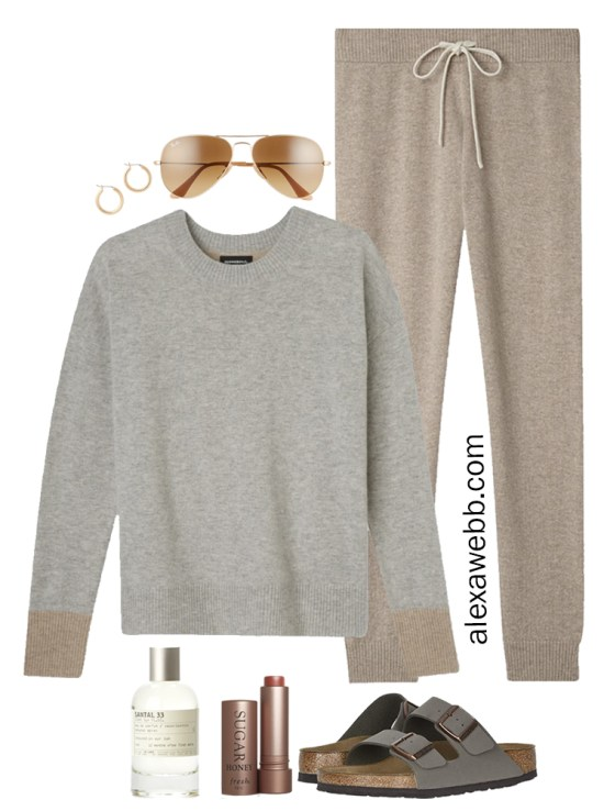 Plus Size Luxury Loungewear Outfit with Cashmere Crewneck Sweater and Cashmere Joggers with Birkenstock Sandals - Alexa Webb #plussize #alexawebb