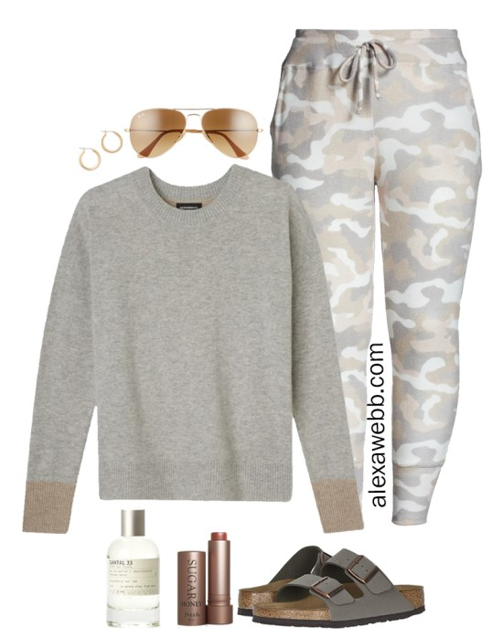 Plus Size Luxury Loungewear Outfit with Cashmere Crewneck Sweater and Camo Joggers with Birkenstock Sandals - Alexa Webb #plussize #alexawebb
