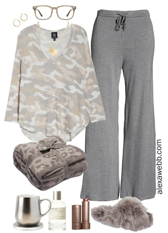 Plus Size Luxury Loungewear Outfit with a Camo Top and Sleep Pants with Fuzzy Slippers - Alexa Webb #plussize #alexawebb