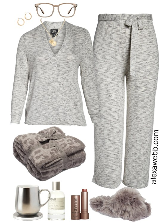 Plus Size Luxury Loungewear Outfit with Knit Surplice Top and Matching Cropped Pants with Fuzzy Slippers - Alexa Webb #plussize #alexawebb