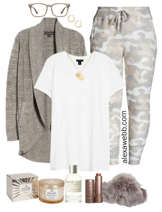 Plus Size Luxury Loungewear Outfit with Barefoot Dreams Cardigan and Camo Joggers with Fuzzy Slippers - Alexa Webb #plussize #alexawebb