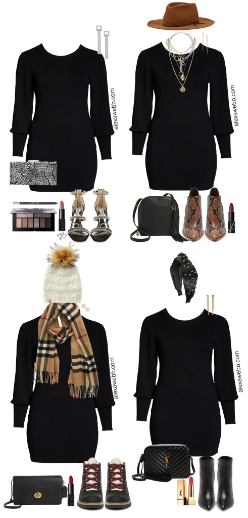 Plus Size Sweater Dress Outfit Ideas with one plus size sweater dress four ways! One preppy, one boho, one dressy, and one casual. Alexa Webb #plussize #alexawebb