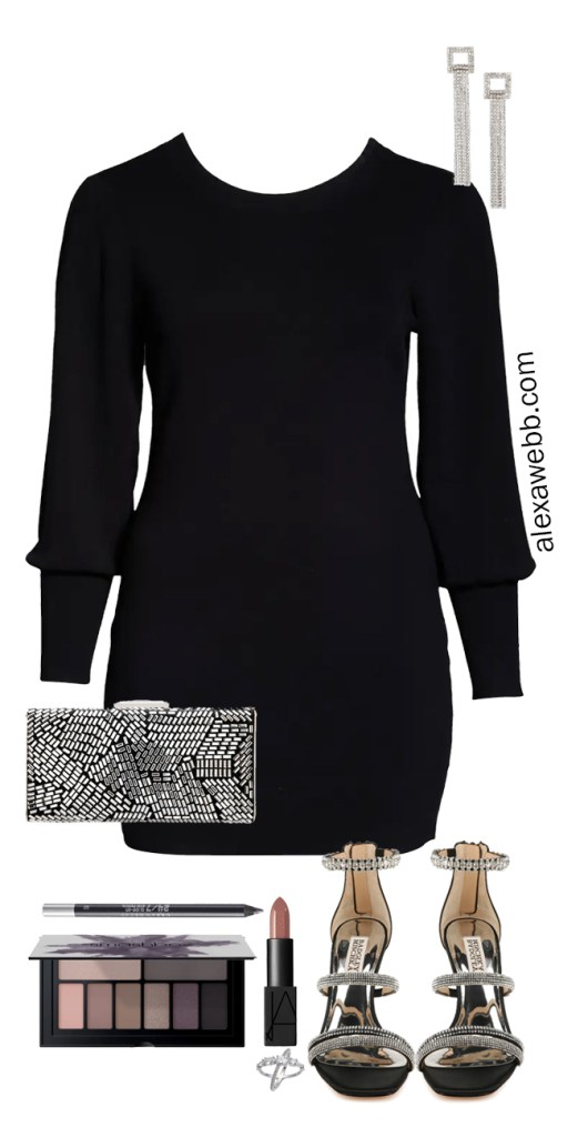 Plus Size Sweater Dress Outfit Ideas - Dressed Up with Crystal Strappy Sandals, Smoky Eye, and Clutch - Plus Size New Year's Outfit - Alexa Webb #plussize #alexawebb