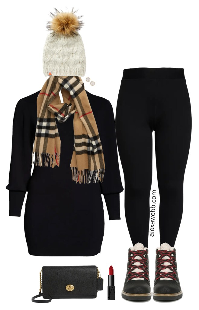 Plus Size Sweater Dress Outfit Ideas - Preppy Snow Day Outfit with Burberry Scarf, Hiker Boots, Faux Fur Pom Beanie, Leggings, and Crossbody Bag - Alexa Webb #plussize #alexawebb
