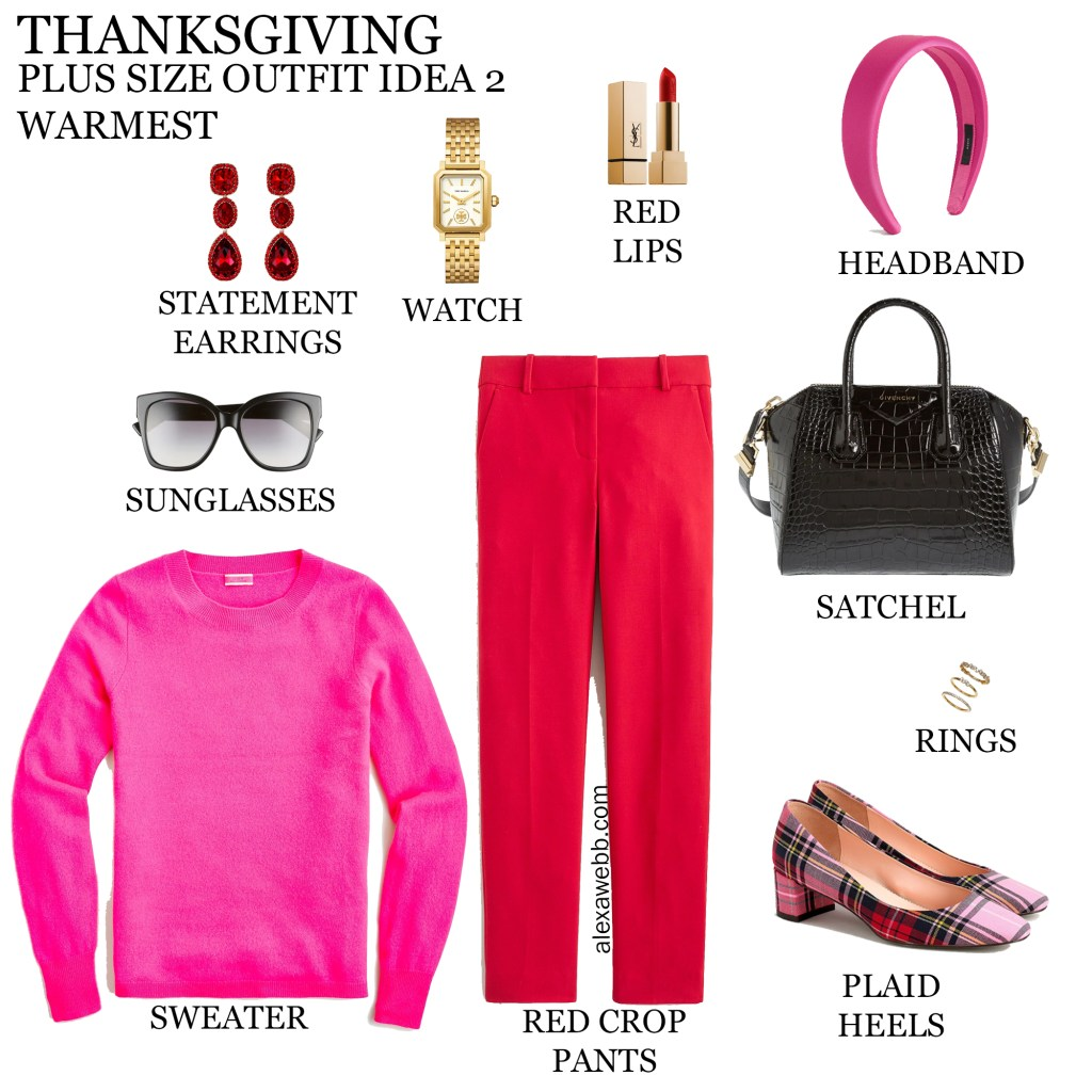 2020 Plus Size Thanksgiving Outfits – Part 2 with red pants, bright pink cashmere sweater, and plaid heels - Alexa Webb #plussize #alexawebb