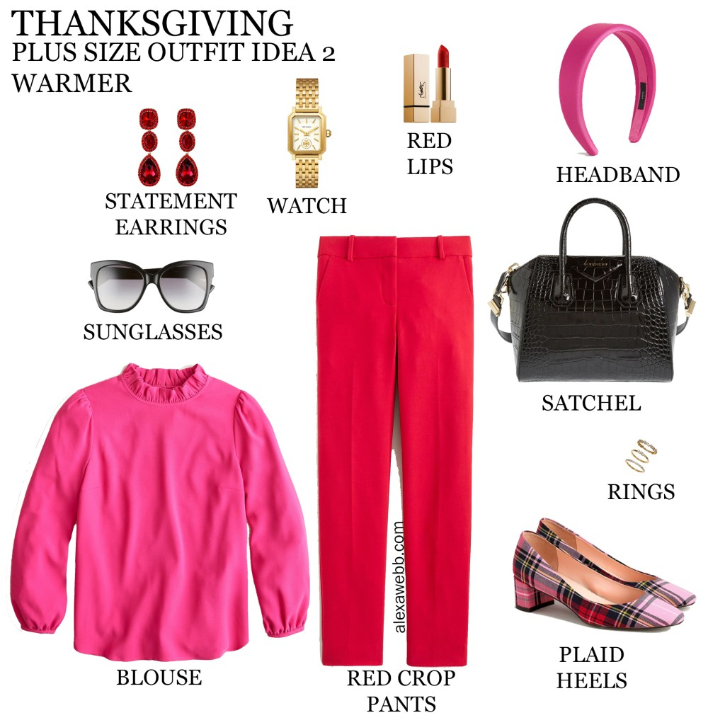 2020 Plus Size Thanksgiving Outfits – Part 2 with red pants, bright pink blouse, and plaid heels - Alexa Webb #plussize #alexawebb
