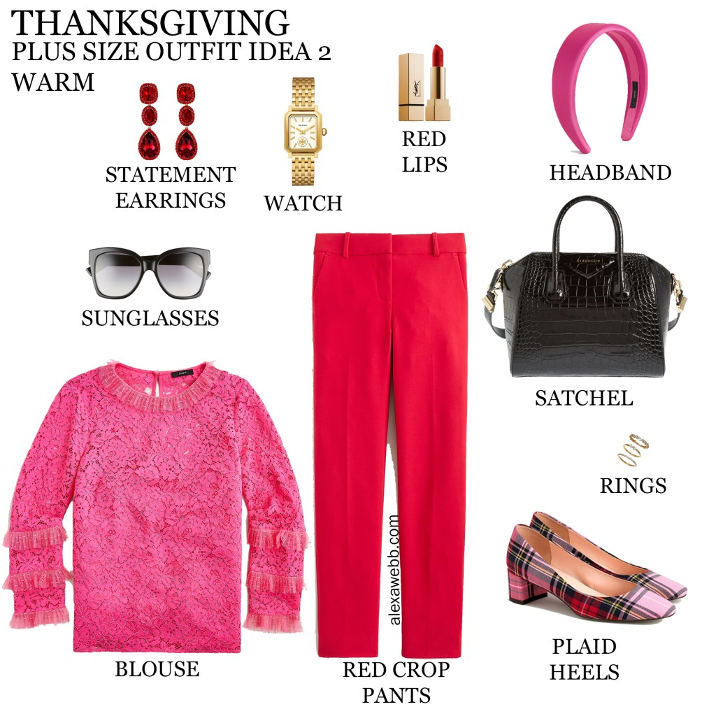 2020 Plus Size Thanksgiving Outfits – Part 2 with red pants, bright pink lace blouse, and plaid heels - Alexa Webb #plussize #alexawebb