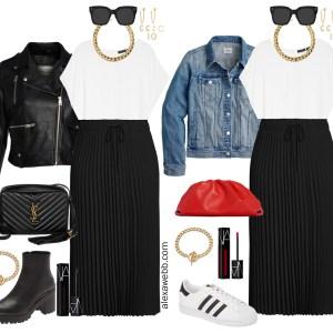 Plus Size Black Pleated Skirt Outfit Ideas with a cap sleeve blouse, and biker jacket or denim jacket - Alexa Webb #plussize #alexawebb