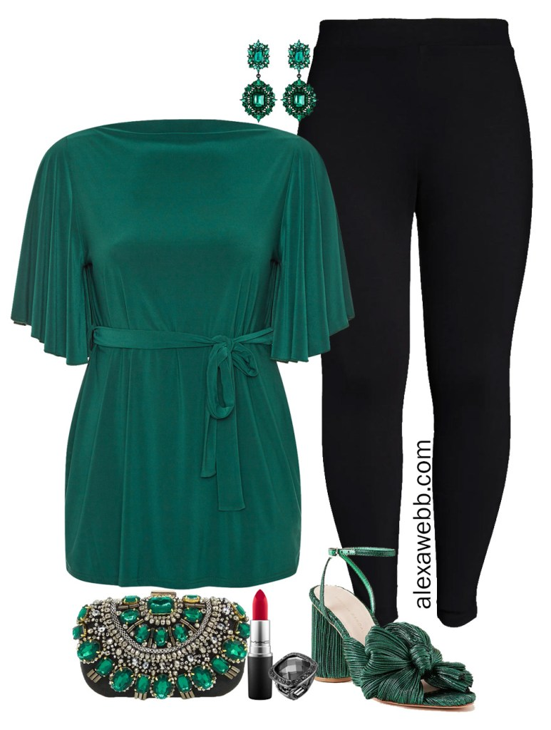 Plus Size Christmas Outfit Idea with green tunic, black leggings, green bow heels, and statement earrings - Alexa Webb #plussize #alexawebb