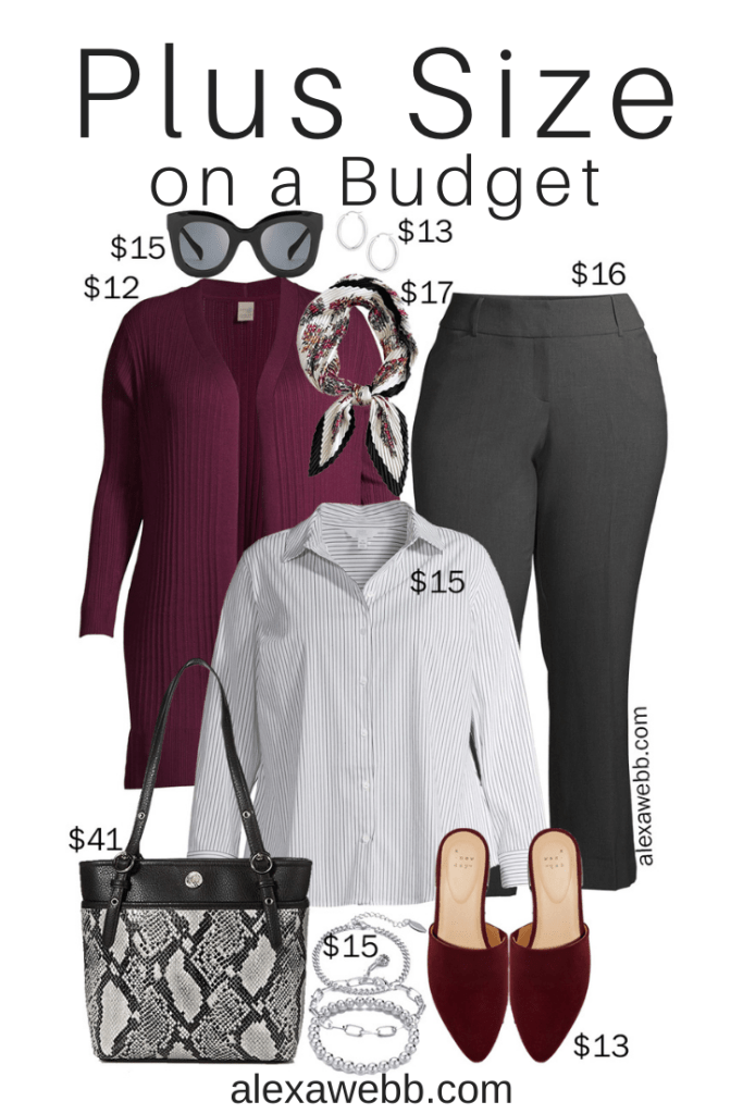 Plus Size on a Budget – Winter Work Outfit Idea with Wine Cardigan, Stripe Button Down, and Bootcut Work Pants - Alexa Webb #plussize #alexawebb