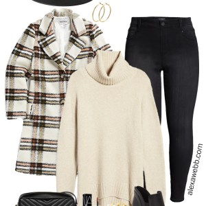 Plus Size Plaid Coat Outfit Ideas with Black Skinny Jeans, Cream Turtleneck Sweater, Rancher Fedora Hat, and Ankle Booties - Winter Outfits - Alexa Webb #plussize #alexawebb