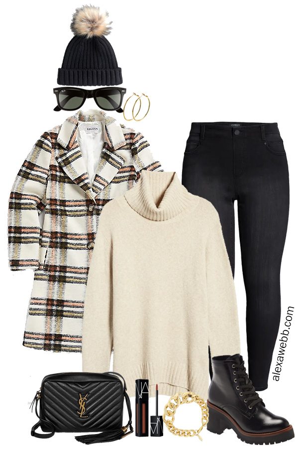 Plus Size Plaid Coat Outfit Ideas with Black Skinny Jeans, Cream Turtleneck Sweater, Black Beanie Hat, and Ankle Booties - Winter Outfits - Alexa Webb #plussize #alexawebb