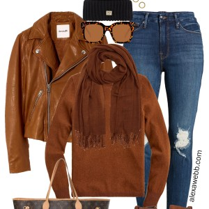 Plus Size Brown Leather Jacket Outfit with distressed skinnny jeans, cashmere sweater, scarf, and wedge booties - Alexa Webb #plussize #alexawebb