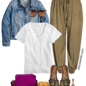 Plus Size Olive Joggers Outfit with a denim jacket, t-shirt, crossbody bag, and leopard sandals - Alexa Webb