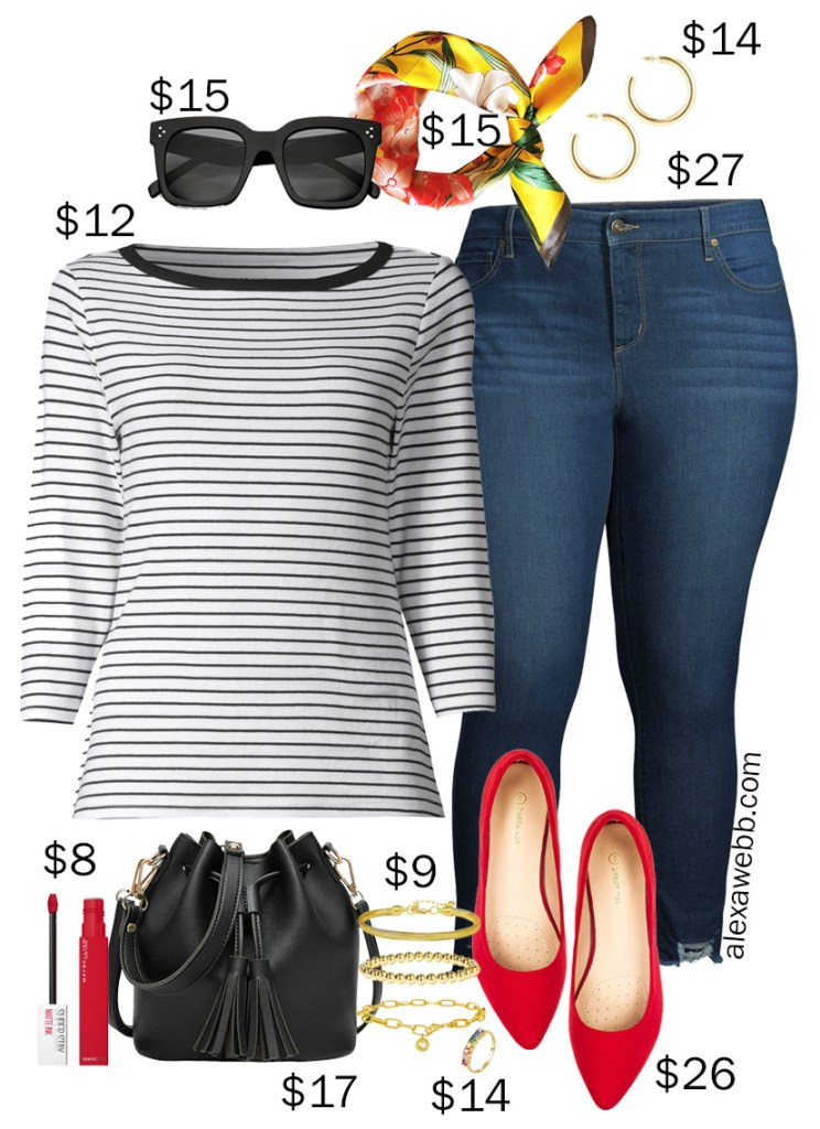 Plus Size on a Budget – Spring Jeans Outfit with a striped tee, skinny jeans, a floral scarf, bucket bag, and red flats - Alexa Webb