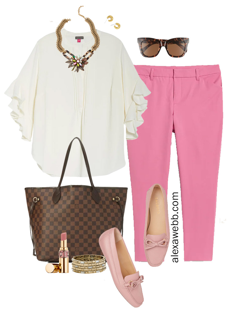 Plus Size Pink Pants Work Outfit for Spring with Pink Chinos, White Blouse, and Pink Loafers - Alexa Webb