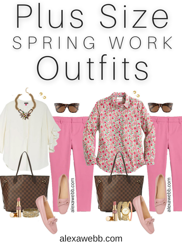 Plus Size Pink Pants Work Outfit for Spring with Pink Chinos, Floral Shirt, and Pink Loafers - Alexa Webb