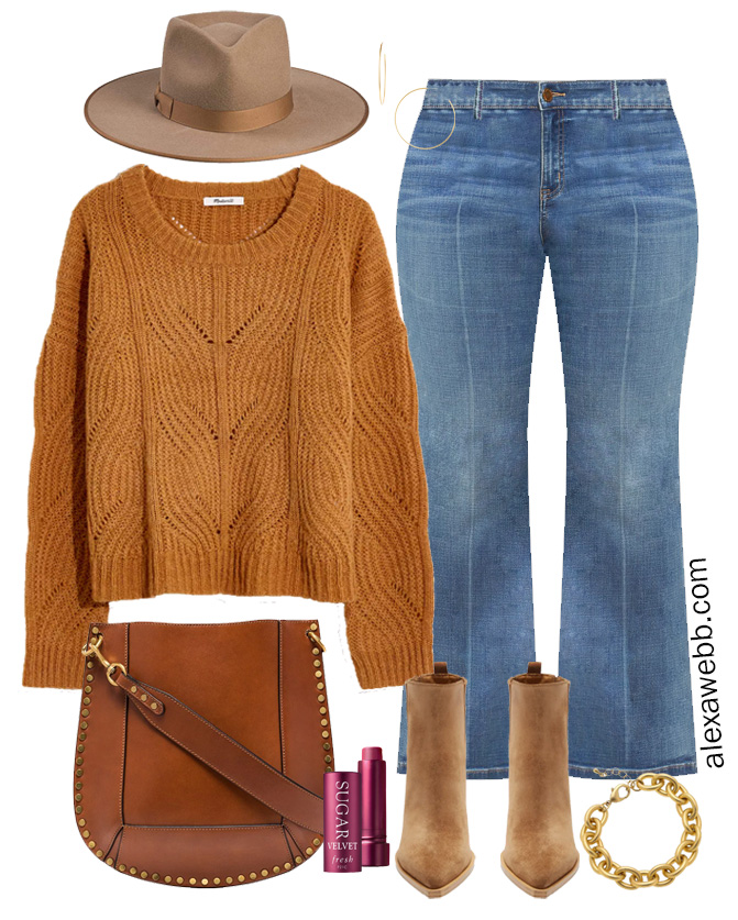 Plus Size Rust Sweater Outfit with Rancher Hat, Bootcut Jeans, and Western Booties - Plus Size Boho - Alexa Webb #plussize #alexawebb