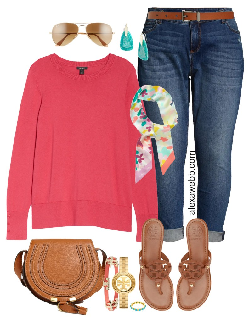 Plus Size Spring Transition Outfits with Nordstrom - Plus Size Coral Cotton Sweater with Jeans and Sandals for late Spring - Alexa Webb #plussize #alexawebb