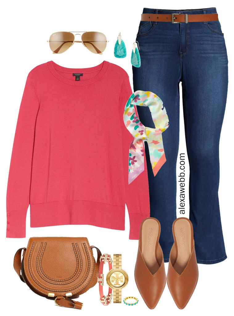 Plus Size Spring Transition Outfits with Nordstrom - Plus Size Coral Cotton Sweater with Jeans and Mules - Alexa Webb #plussize #alexawebb