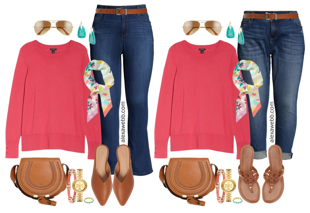 Plus Size Spring Transition Outfits with Nordstrom - Plus Size Coral Cotton Sweater with Jeans and Mules or Sandals - Alexa Webb #plussize #alexawebb