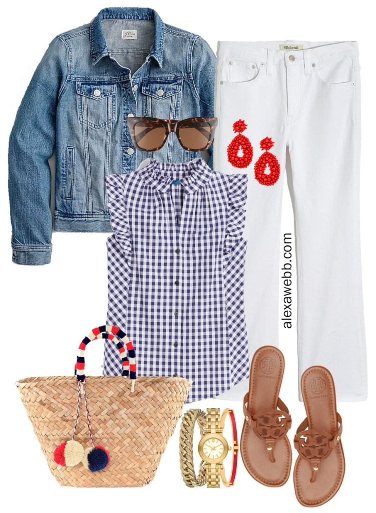 Plus Size Gingham Summer Outfit with white cropped demi boot jeans, blue gingham top, denim jacket, Tory Burch Miller sandals, and straw tote bag - Alexa Webb