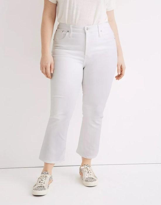 Plus size white cropped bootcut jeans - Alexa Webb