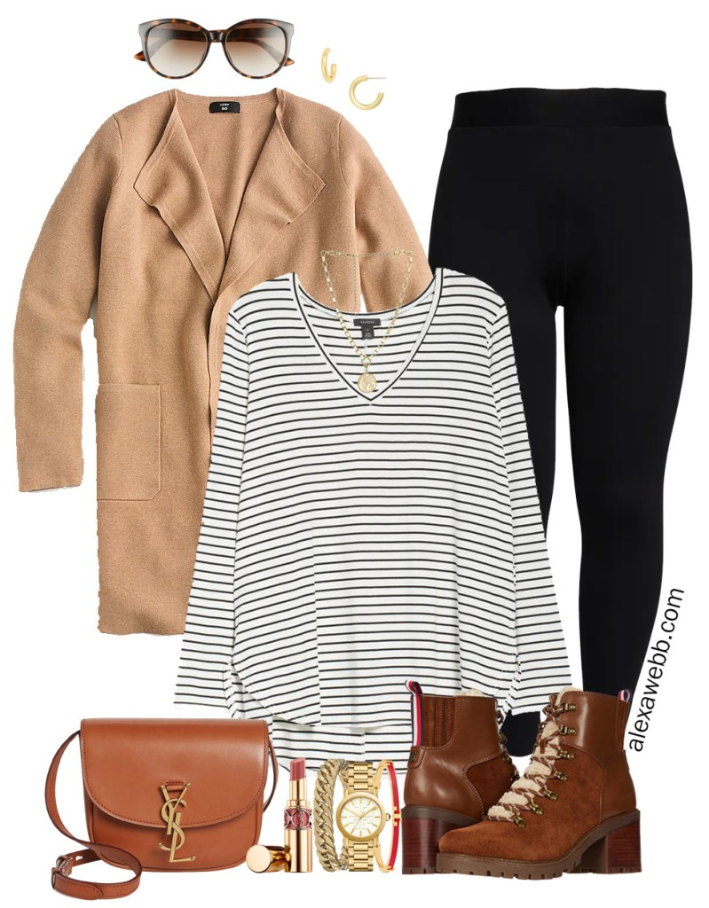 Plus Size Leggings Outfit with a striped tunic t-shirt, a sweater blazer, hiker booties, and Saint Laurent crossbody bag - Alexa Webb