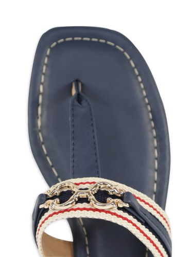 Preppy Navy, Red, and White Thong Sandals by C Wonder from Walmart - Alexa Webb