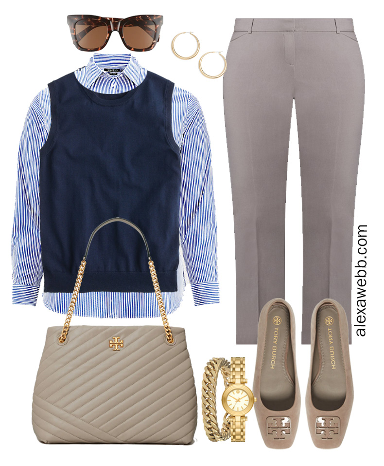 Plus Size Spring Work Outfit Idea from a Plus Size Spring Work Capsule Wardrobe with a Grey Pants, a Blue and White Stripe Button Down Shirt and a Navy Sweater Vest- Alexa Webb
