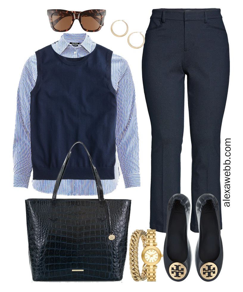 Plus Size Spring Work Outfit Idea from a Plus Size Spring Work Capsule Wardrobe with Navy Bootcut Pants, a Blue and White Stripe Button Down Shirt and a Navy Sweater Vest- Alexa Webb