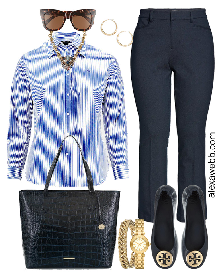 Plus Size Spring Work Outfit Idea from a Plus Size Spring Work Capsule Wardrobe with Navy Bootcut Pants and a Blue and White Stripe Button Down Shirt - Alexa Webb