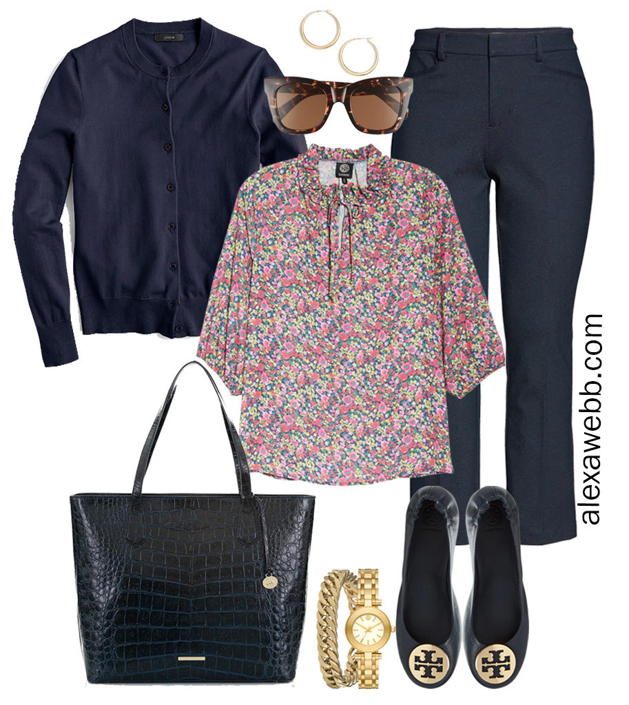 Plus Size Spring Work Outfit Idea from a Plus Size Spring Work Capsule Wardrobe with Navy Bootcut Pants, Floral Top, and Navy Cardigan - Alexa Webb