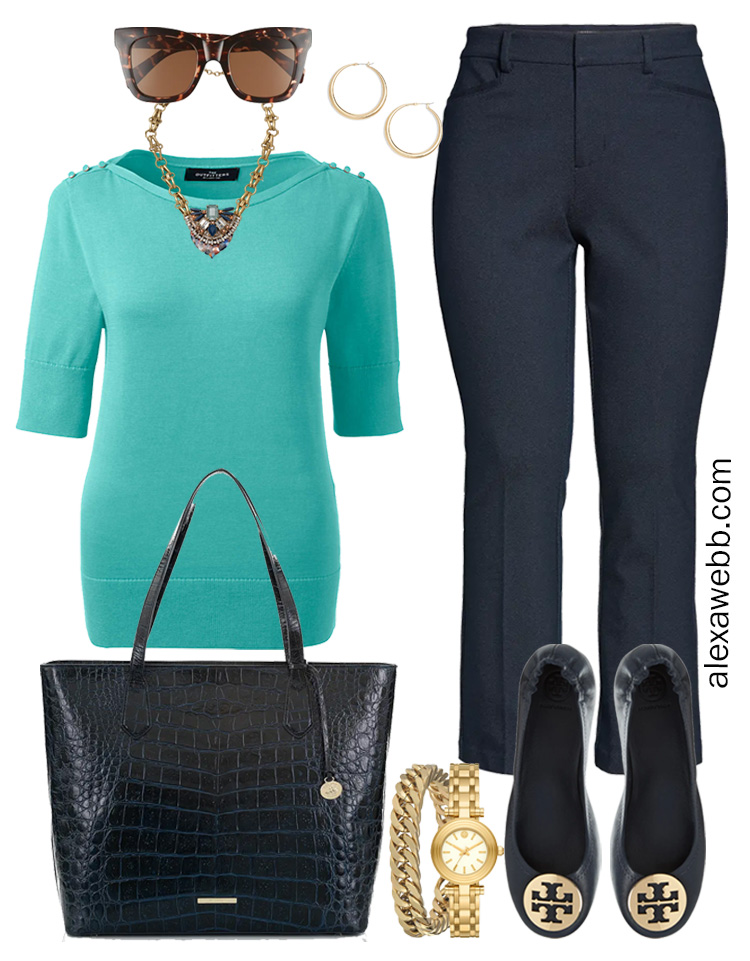 Plus Size Spring Work Outfit Idea from a Plus Size Spring Work Capsule Wardrobe with Navy Bootcut Pants and an Aqua Short-Sleeve Sweater - Alexa Webb