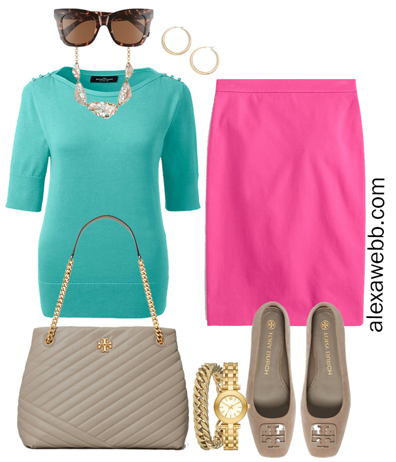 Plus Size Spring Work Outfit Idea from a Plus Size Spring Work Capsule Wardrobe with Hot Pink Magenta Skirt and an Aqua Short-Sleeve Sweater - Alexa Webb