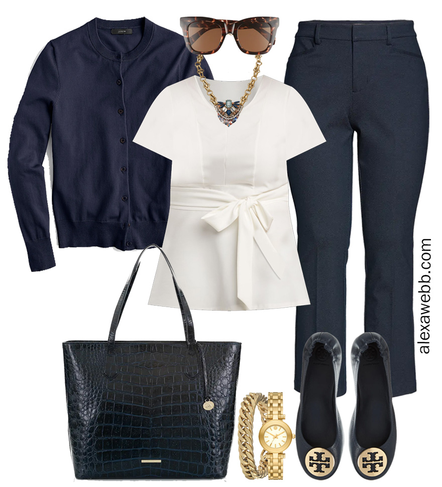 Plus Size Spring Work Outfit Idea from a Plus Size Spring Work Capsule Wardrobe with a Navy Bootcut Pants and a White Top with a Navy Cardigan - Alexa Webb