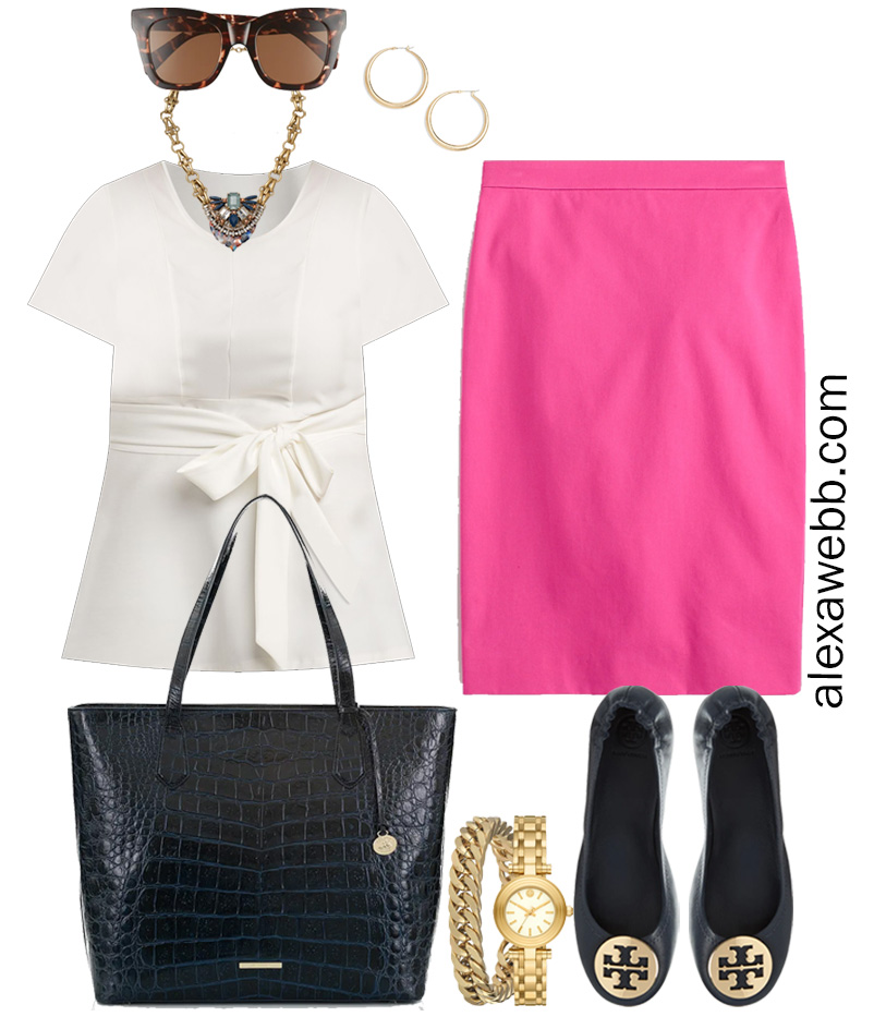 Plus Size Spring Work Outfit Idea from a Plus Size Spring Work Capsule Wardrobe with a Hot Pink Magenta Skirt and a White Top - Alexa Webb