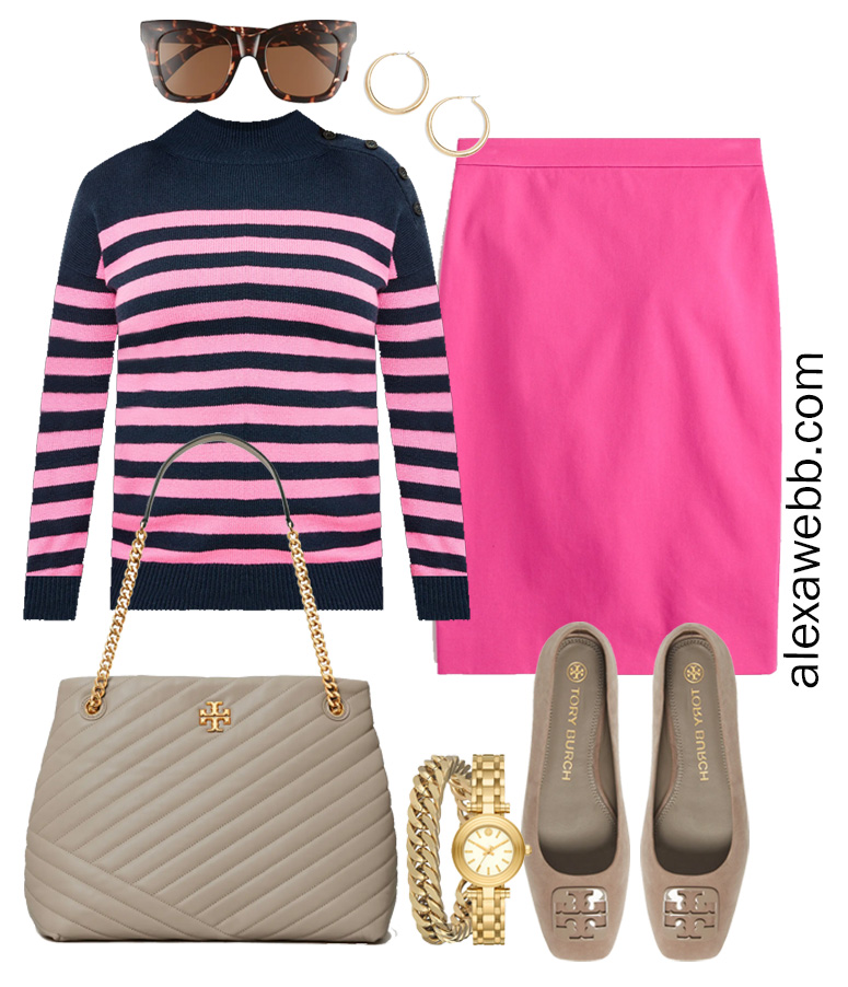 Plus Size Spring Work Outfit Idea from a Plus Size Spring Work Capsule Wardrobe with a Hot Pink Magenta Skirt and a Pink and Navy Striped Sweater- Alexa Webb