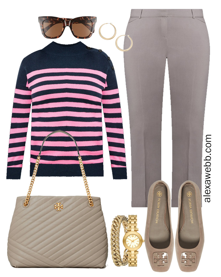 Plus Size Spring Work Outfit Idea from a Plus Size Spring Work Capsule Wardrobe with Grey Pants and a Pink and Navy Striped Sweater- Alexa Webb