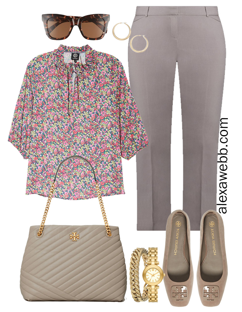 Plus Size Spring Work Outfit Idea from a Plus Size Spring Work Capsule Wardrobe with Gray Trousers and Floral Top- Alexa Webb